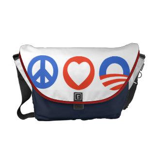 Peace Love Obama Messenger Bag