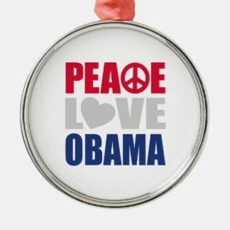 Peace Love Obama Metal Ornament