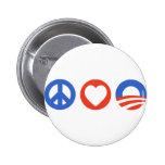 Peace Love Obama Pin