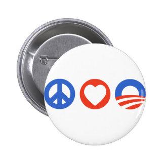 Peace Love Obama Pinback Button