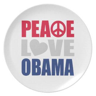 Peace Love Obama Plate
