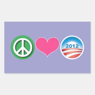 Peace, Love, Obama Rectangle Sticker