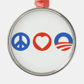 Peace Love Obama Round Metal Christmas Ornament