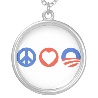 Peace Love Obama Round Pendant Necklace