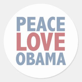 Peace Love  Obama Round Sticker
