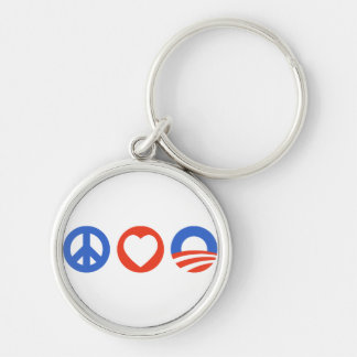 Peace Love Obama Silver-Colored Round Keychain