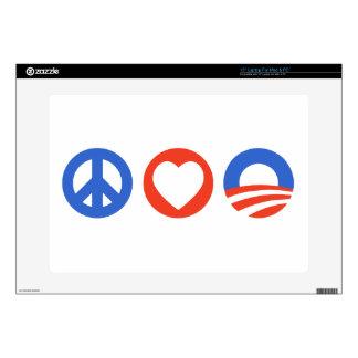 "Peace Love Obama 15"" Laptop Skin"