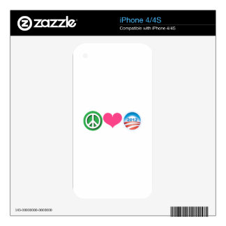 Peace, Love, Obama Decal For iPhone 4