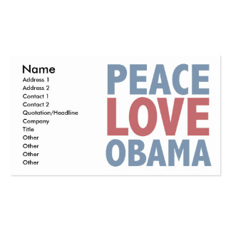 Peace Love Obama Tees and Gifts Business Card