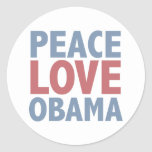 Peace Love Obama Tees and Gifts Round Stickers