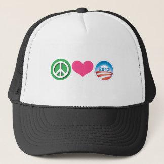 Peace, Love, Obama Trucker Hat