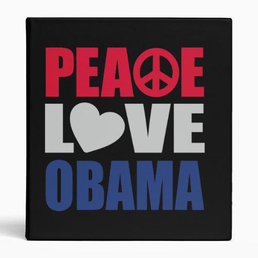 Peace Love Obama Vinyl Binders