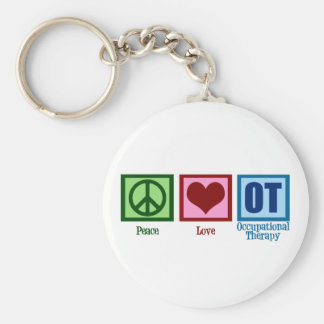 Peace Love Occupational Therapy Basic Round Button Keychain