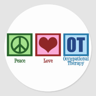 Peace Love Occupational Therapy Round Sticker