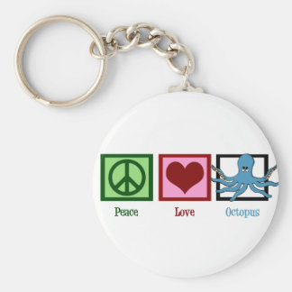 Peace Love Octopus Basic Round Button Keychain