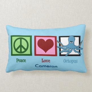 Peace Love Octopus Custom Blue Lumbar Pillow