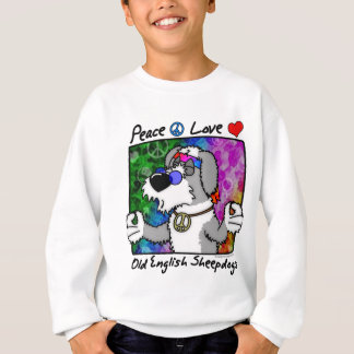 Peace Love Old English Sheepdog Kids Apparel Sweatshirt