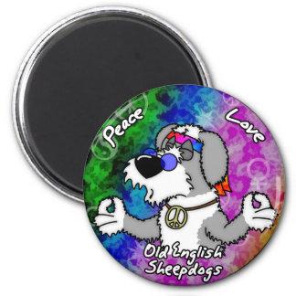 Peace Love Old English Sheepdog Magnet