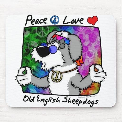 Peace Love Old English Sheepdog Mousepad