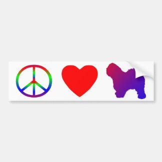 Peace Love Old English Sheepdogs Bumper Sticker Car Bumper Sticker