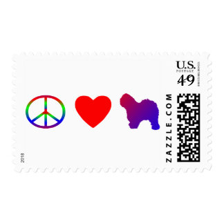 Peace Love Old English Sheepdogs Postage Stamps