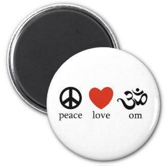 Peace Love Om 2 Inch Round Magnet