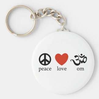Peace Love Om Basic Round Button Keychain