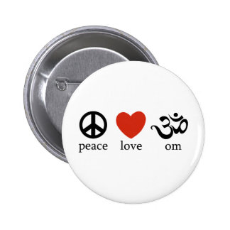 Peace Love Om Pinback Button