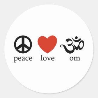 Peace Love Om Classic Round Sticker