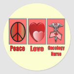 Peace Love ONCOLOGY Nurse Classic Round Sticker