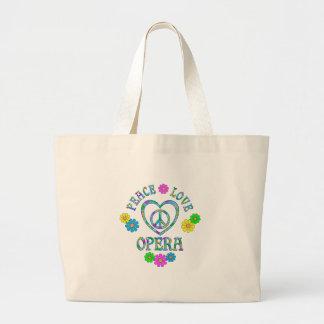 Peace Love Opera Large Tote Bag