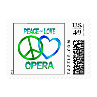 Peace Love OPERA Postage Stamp