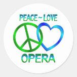 Peace Love OPERA Round Sticker