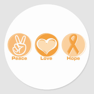 Peace Love Orange Hope Classic Round Sticker