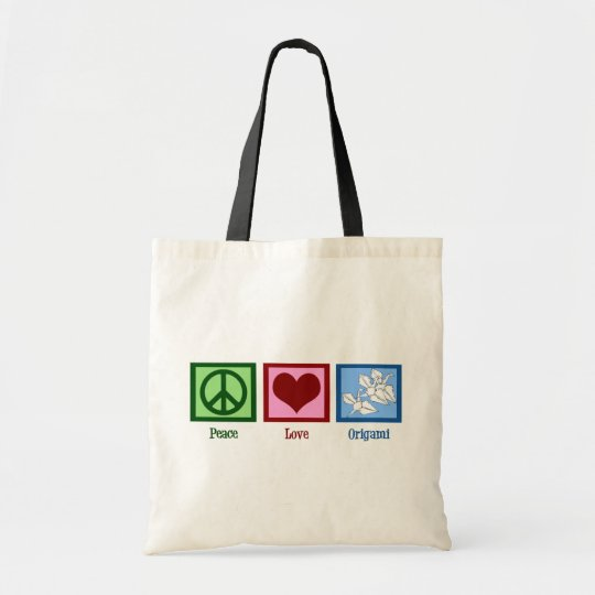 Peace Love Origami Tote Bag