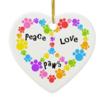peace & love ornament! Paw print peace sign!