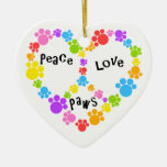 peace & love ornament! Paw print peace sign! Ceramic Ornament