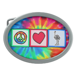 Peace, Love, Ostriches Oval Belt Buckles