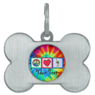 Peace, Love, Ostriches Pet Tag