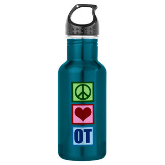 Peace Love OT Occupational Therapist Stainless Steel Water Bottle