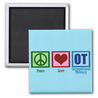 Peace Love OT Occupational Therapy 2 Inch Square Magnet