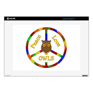 "Peace Love Owls 15"" Laptop Decals"