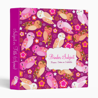 Peace & Love Owls 3 Ring Binder