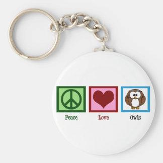 Peace Love Owls Basic Round Button Keychain