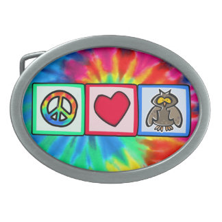 Peace, Love, Owls Oval Belt Buckles