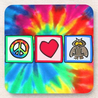 Peace, Love, Owls Beverage Coaster