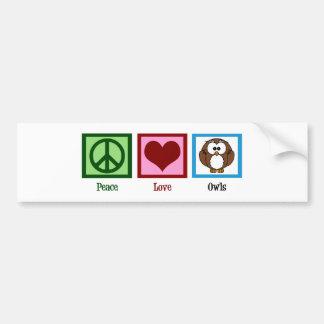 Peace Love Owls Bumper Sticker