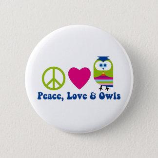 Peace, Love, Owls Button