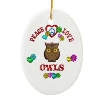 Peace Love Owls Ceramic Ornament