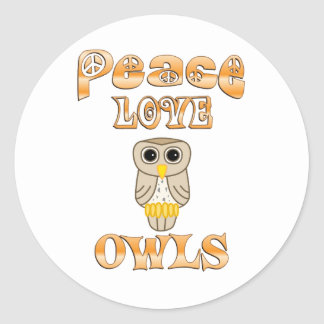 Peace Love Owls Classic Round Sticker